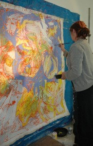 woman with big beautiful bright painting 2