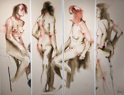 website Brown, Jan (Novi) - Four Figures - ink wash